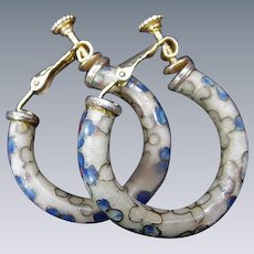 Cloisonne Hoop Earrings, Yellow with Blue Flowers, Clips