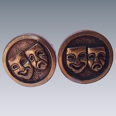 Pair of Cuff Links with Comedy and Tragedy Masks