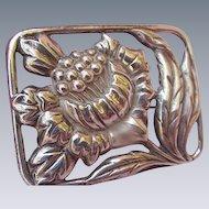 Sterling Silver Brooch, Large Sunflower Framed in Pierced Rectangle