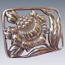 Sterling Silver Brooch, Large Sunflower Framed in Pierced Rectangle