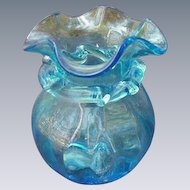 Azure Blue Blown Glass Vase