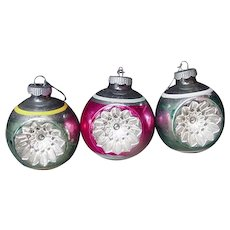 Three Glass Blown Vintage Christmas Ornaments, Different Colors