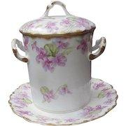 Rare Three-Piece, Elite Limoges, Violet Decorated Condensed Milk Container