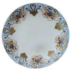 D & C Limoges, France Butterfly Plate, Signed by Artist