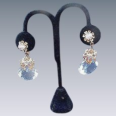 Sparkling Miriam Haskell Crystal Drop, Clip Earrings