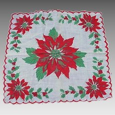 Vintage Christmas Handkerchief, Poinsettias and Christmas Trees