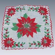 Vintage Christmas Handkerchief, Poinsettias and Christmas Trees