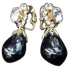Hattie Carnegie Clip Earrings, Onyx and Rhinestones