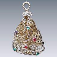 Goldtone Christmas Bell Pin or Pendant