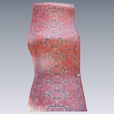 Vintage Hall Runner, Deep Red Wool Oriental Rug with Medallion Design