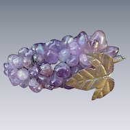 Grape Cluster Formed of Polished Amethysts on Silver Tone Wire