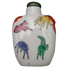 Chinese Snuff Bottle Decorated with Lion's Heads and Horses - Red Tag Sale Item