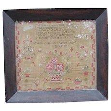1840 Antique Sampler, Verse on Linen with Large Floral Basket by Martha Fearnside, Age 11