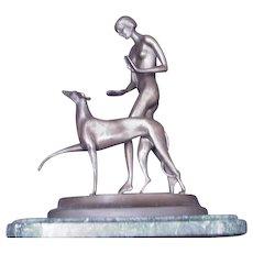 Ignacio Gallo Bronze Sculpture of Nude with Greyhound