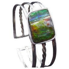 Sterling Silver Cuff Style Bracelet with Iridescent Stone Plaque in Center