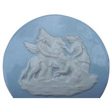 Wedgwood Embossed Queensware Pillbox, Blue with Classical Decoration