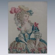 Hand-Colored Engraving of 18th C. Woman in Elaborate Dress
