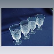 Vintage Crystal Set of Four Kosta Wine or Sherry Glasses, Diamond Cut Band