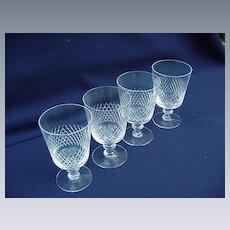 Vintage Crystal Set of Four Kosta Wine or Sherry Glasses, Diamond Cut Band