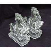L.E. Smith Pressed Glass, Pair of Rearing Horse Bookends