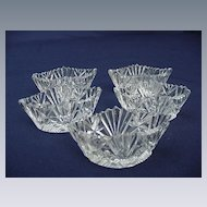 Five Cut Glass Salts, Elliptical Shape