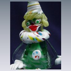 Murano Glass Clown with Green Ribbon Stripping Inside Clear Glass Body