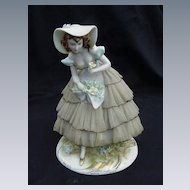 Vintage Porcelain Figurine, Lace Dress, 1950s