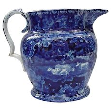 Staffordshire Blue Ware Pitcher with Sheep