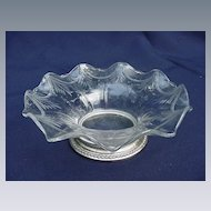 Etched Crystal Bowl with Sterling Silver Base
