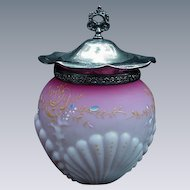 Coral and Shell Design Blown Glass Antique Biscuit Jar