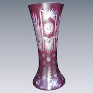 Ruby Cut to Clear Vase, Corset Vase