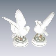 Pair of Andrea Bisque Porcelain White Doves, Japan