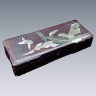 Beautiful Japanese Red Lacquer Box with Golden Birds