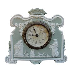 Elegant Ansonia Jasperware Clock with Classic Mythological Figures, Dog, Garlands, Crown