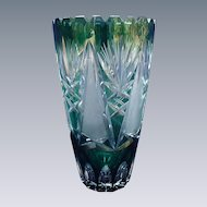 Cut Glass Crystal Vase, Green Cut to Clear