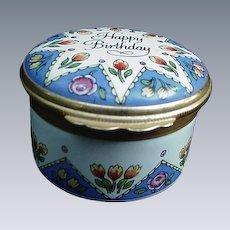 "Vintage Halcyon Days Enamel Box, ""Happy Birthday"", England"