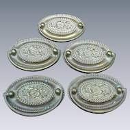 Five Vintage  Brass Oval Drawer Pulls with Floral Centers