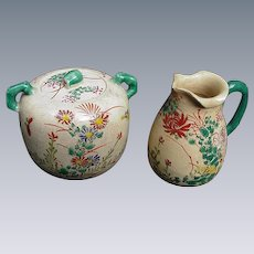 Japanese Satsuma Cream and Sugar with Floral Decoration, Green Handles