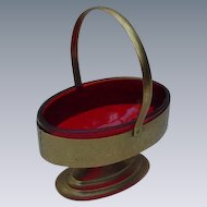 Vintage Oval Sugar Basket with Ruby Glass Liner, Goldtone Metal Frame
