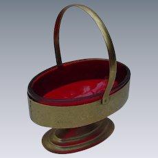 Vintage Oval Sugar Basket with Ruby Glass Liner, Goldtone Metal Frame