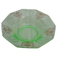Elegant Glass Bowl, Green with Gold Accented Etching