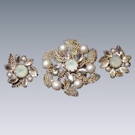 Kramer Pin and Clip Earrings, Gold Tone Frame with Faux Pearls and Opalescent Stones
