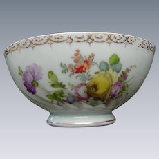 Lovely Fluted Porcelain Bowl with Bouquets of Flowers