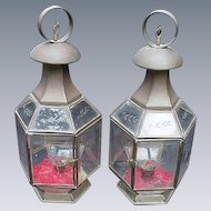 Pair of Vintage Brass Lanterns with Cut and Beveled Glass Panels