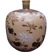 Satsuma Pottery Vase with Tan Background, Gold, and Raised Floral Design
