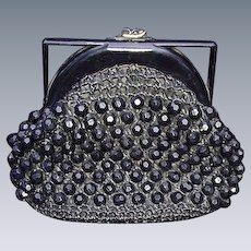 Vintage Woven Straw and Black Beaded Purse with Plastic Handle