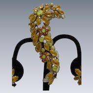 Floral Brooch and Clip Earrings with Topaz, Yellow, and White Colored Stones