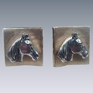 Pair of Gold Tone Cuff Links with Applied Horse Heads in Silver Tone Metal