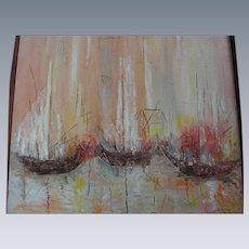 Mid-Century Oil on Canvas, Three Ships, B. Girton