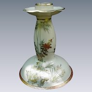 Satsuma Candlestick with Floral Decoration